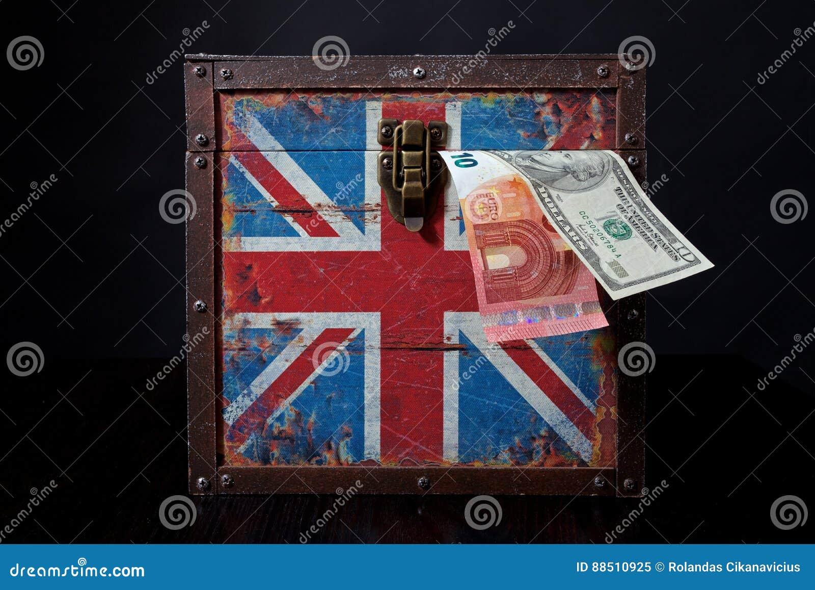 Euro en Amerikaanse dollar op Britse vlag