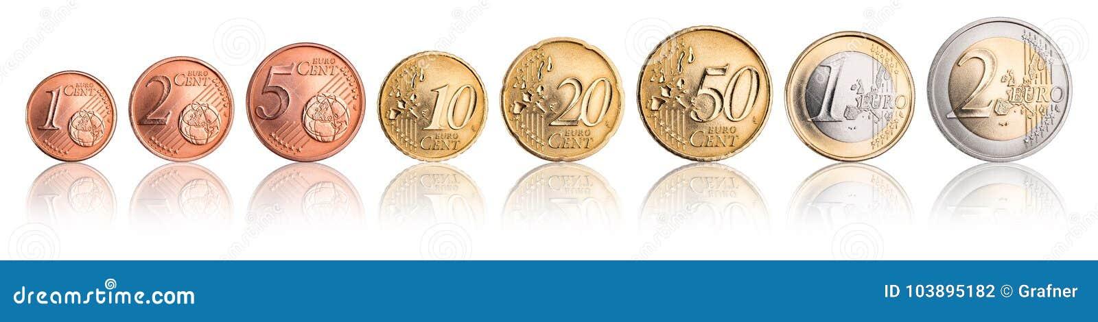 Euro en cent de reeks van de muntstukmunt