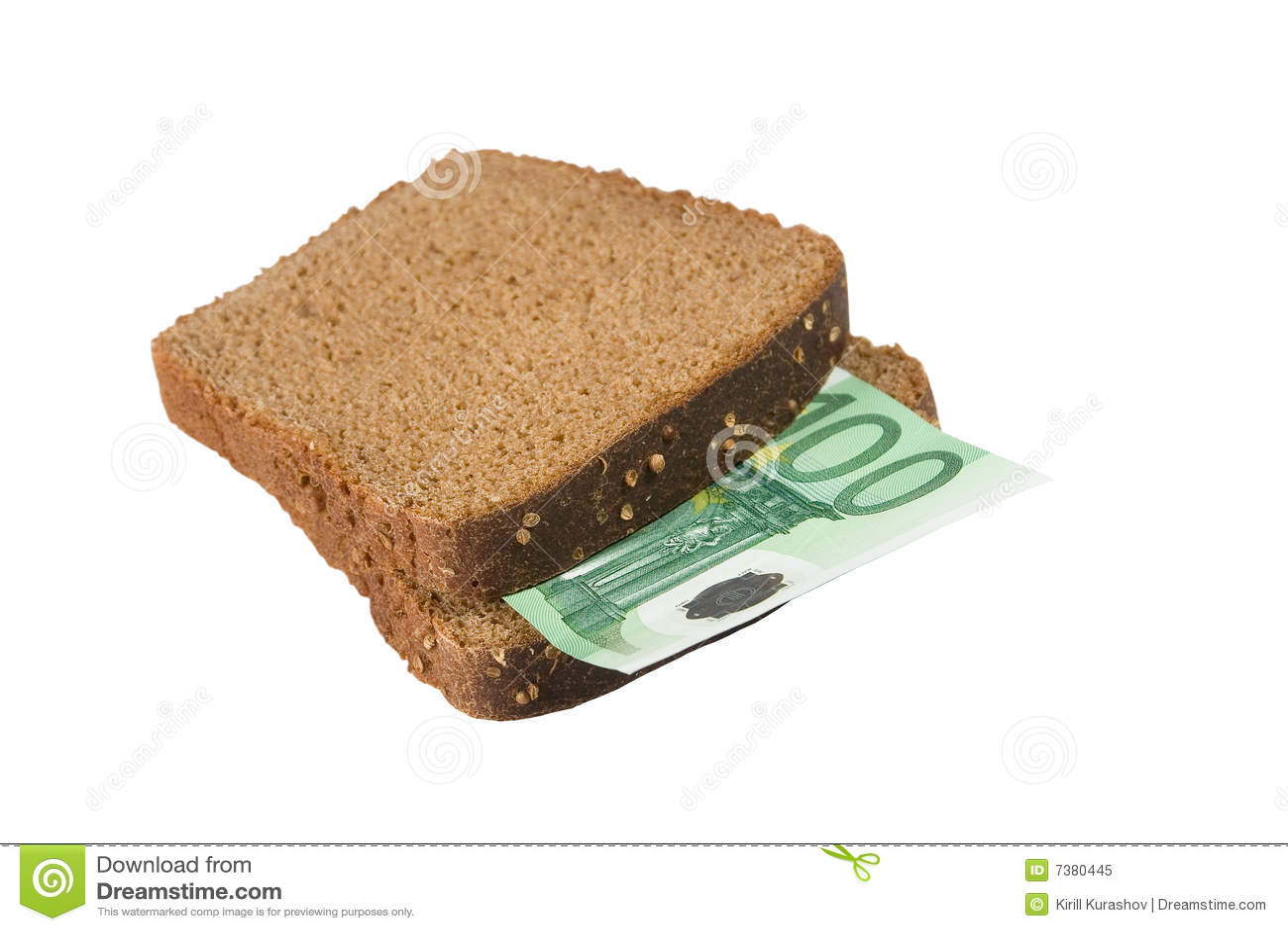 Euro fattura fra le fette di pane