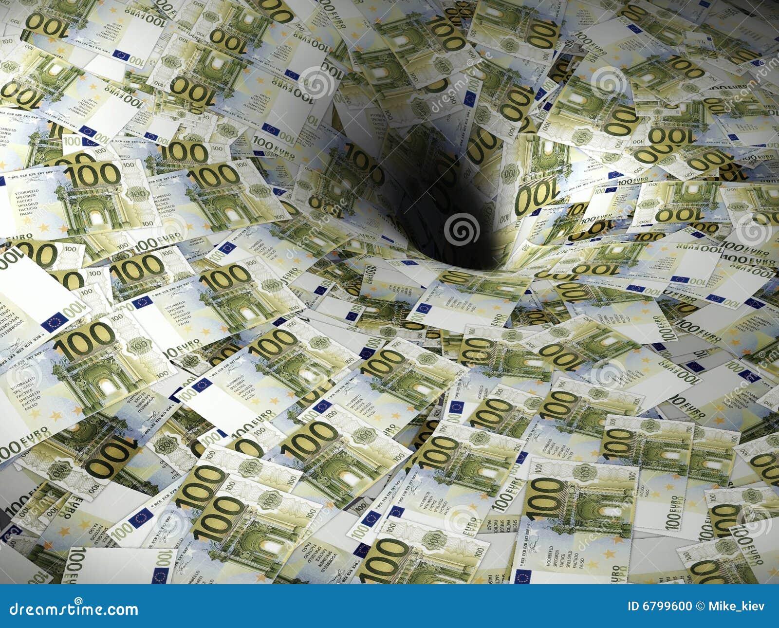 Euro- fluxo de dinheiro no buraco negro