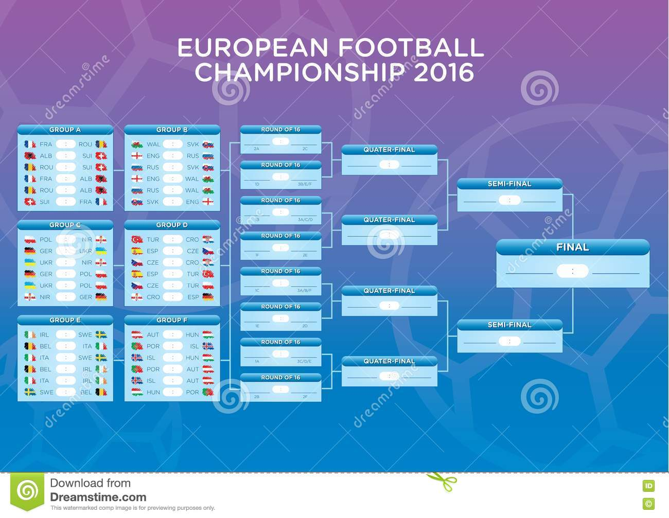 Euro 2016 Footbal Match schedule, template for web, print, football ...