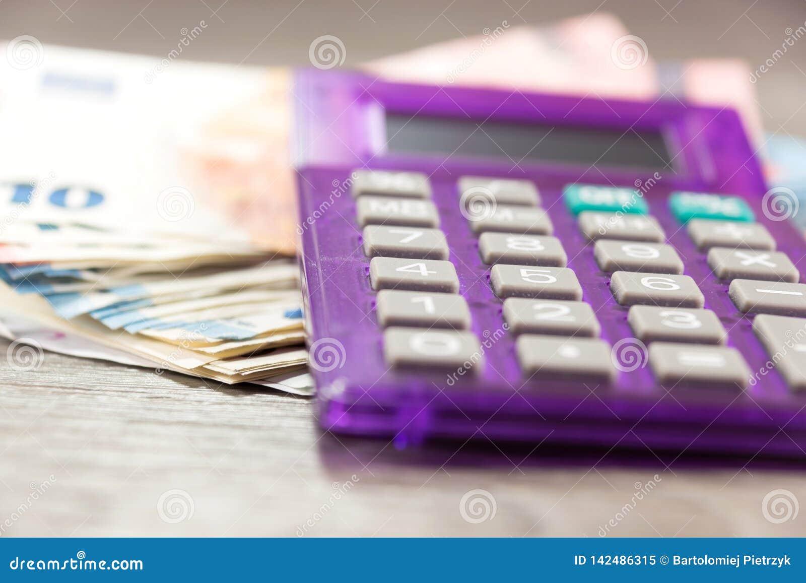 Euro geld en calculator