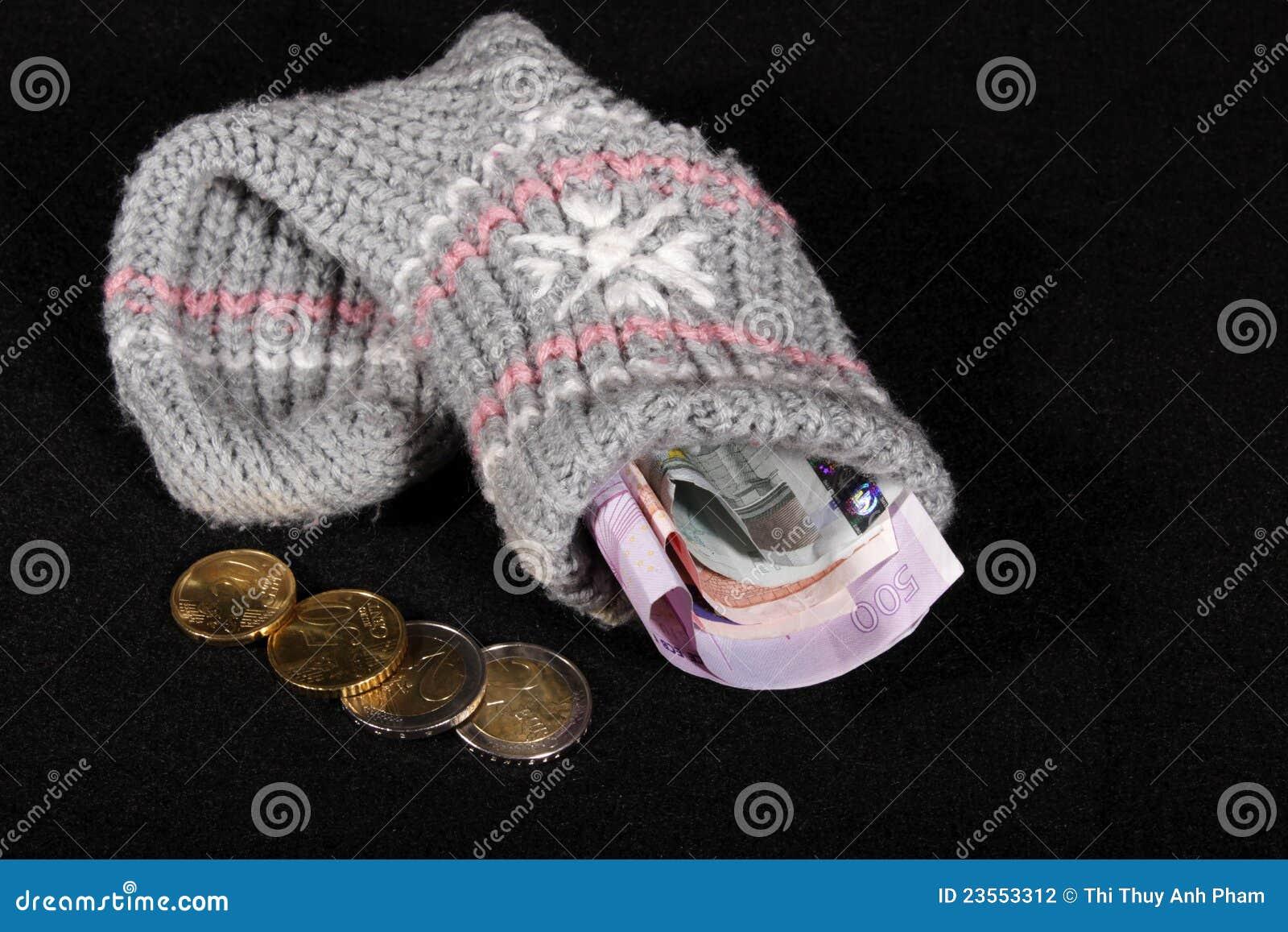 Euro geldvoorraad in een sok