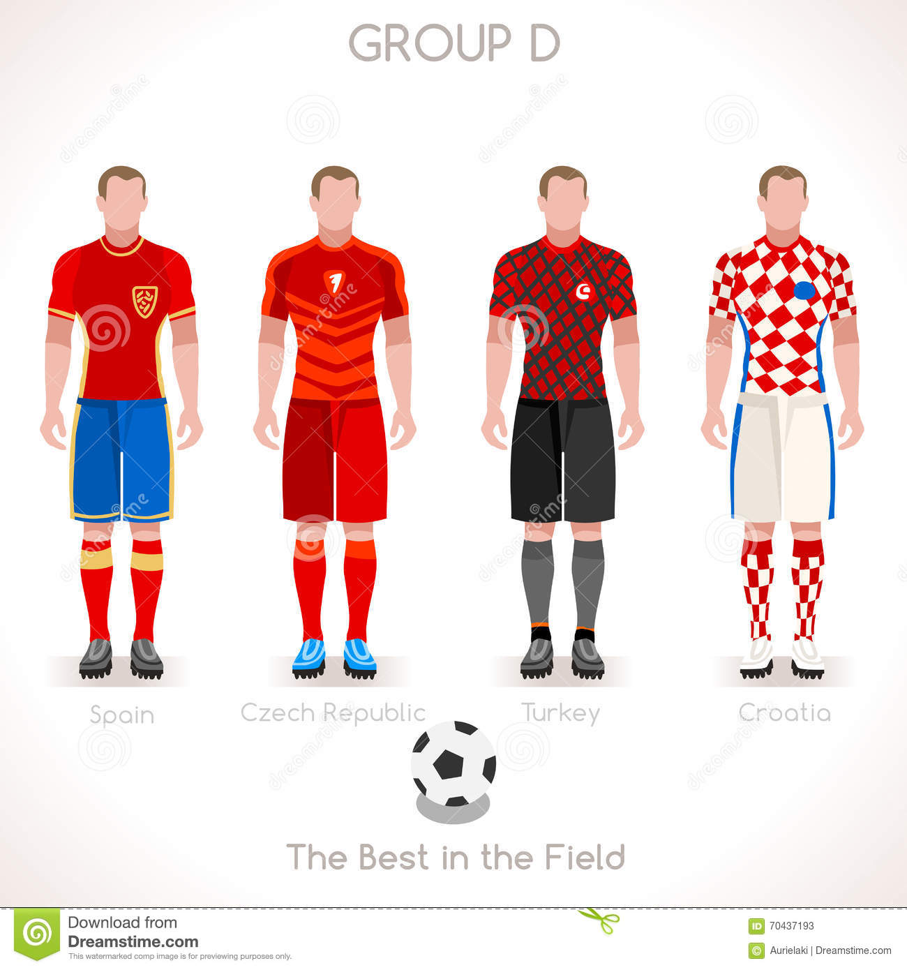 EURO 2016 GROUP D Championship Stock Vector