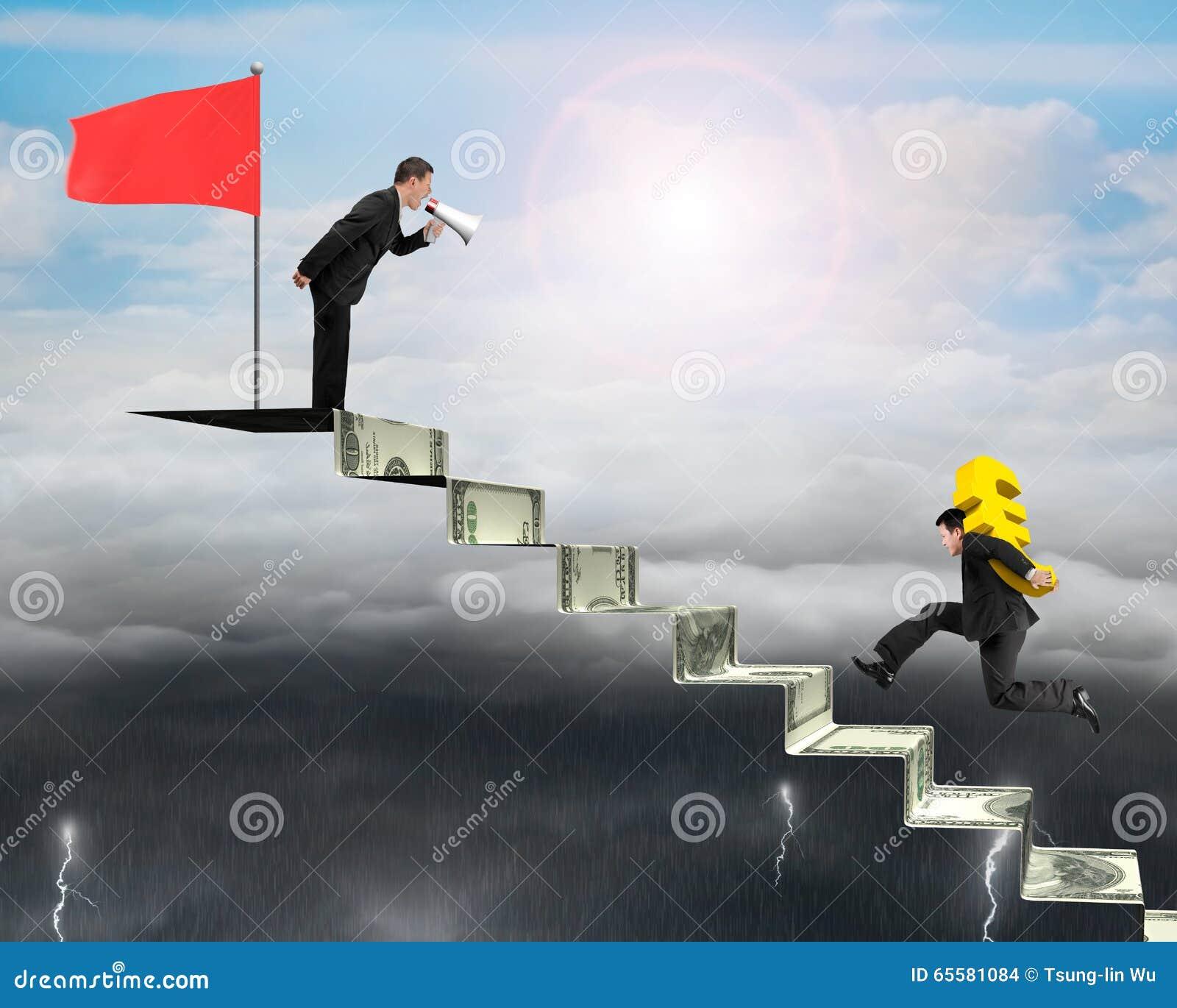 Euro levando do homem de negócios em escadas do dinheiro com uma outra gritaria,