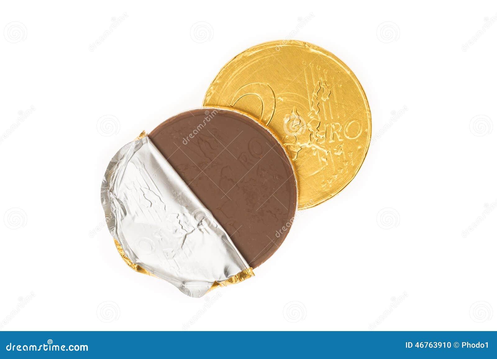 Euro Münzenschokolade Der Fälschung Zwei Stockfoto Bild Von