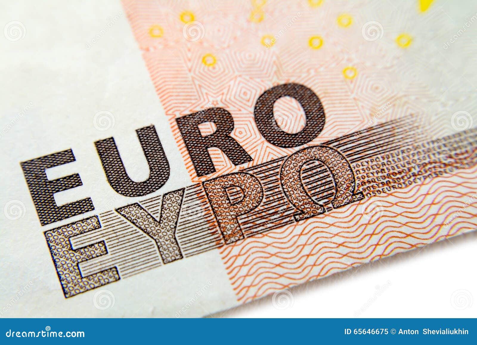 Euro macro de plan rapproché de billet de banque