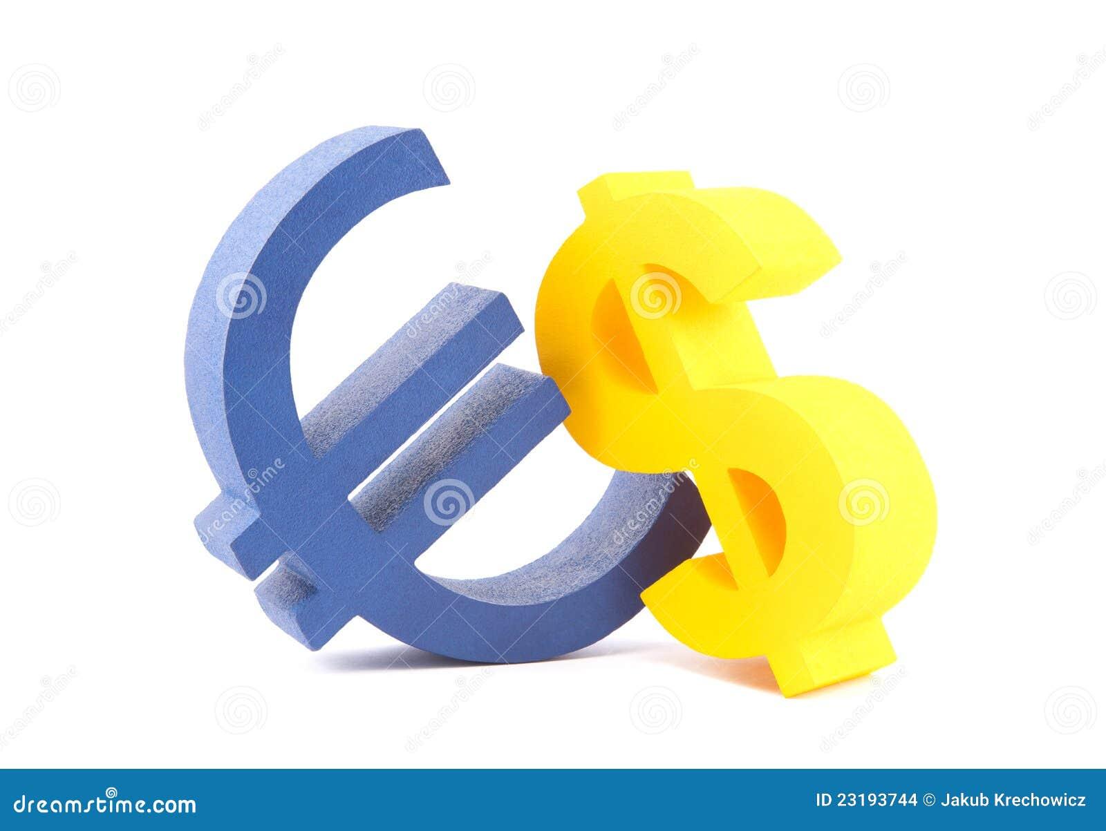 Euro mit DollarWährungszeichen