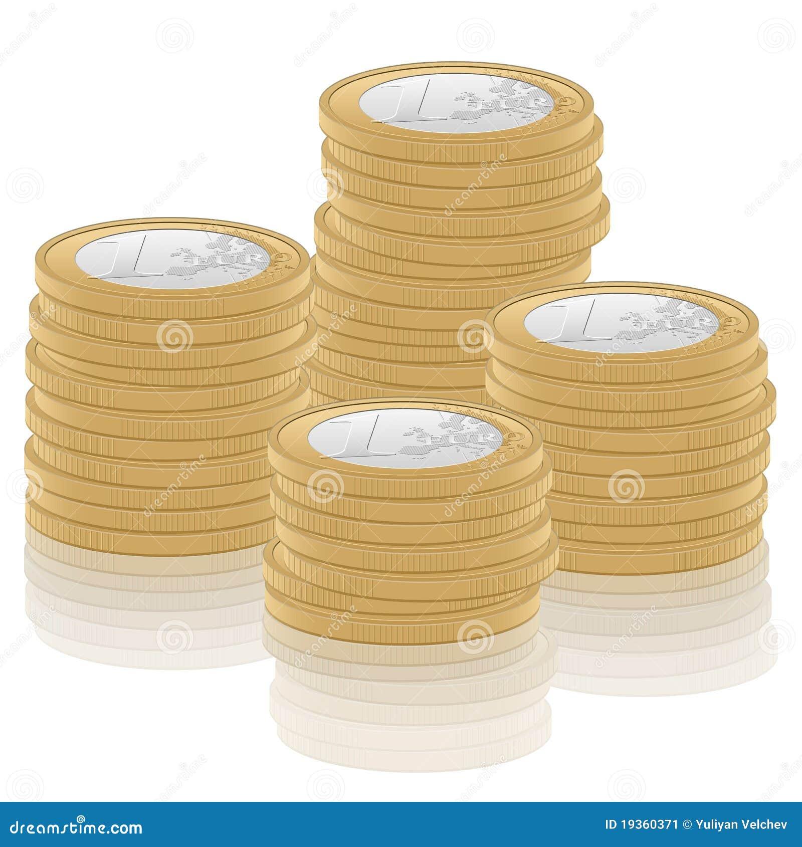 Euro- moeda da pilha uma