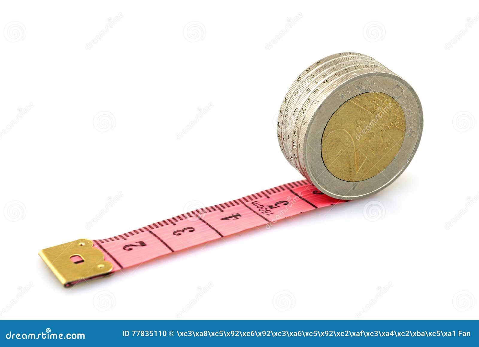 Euro- moedas running na régua vermelha