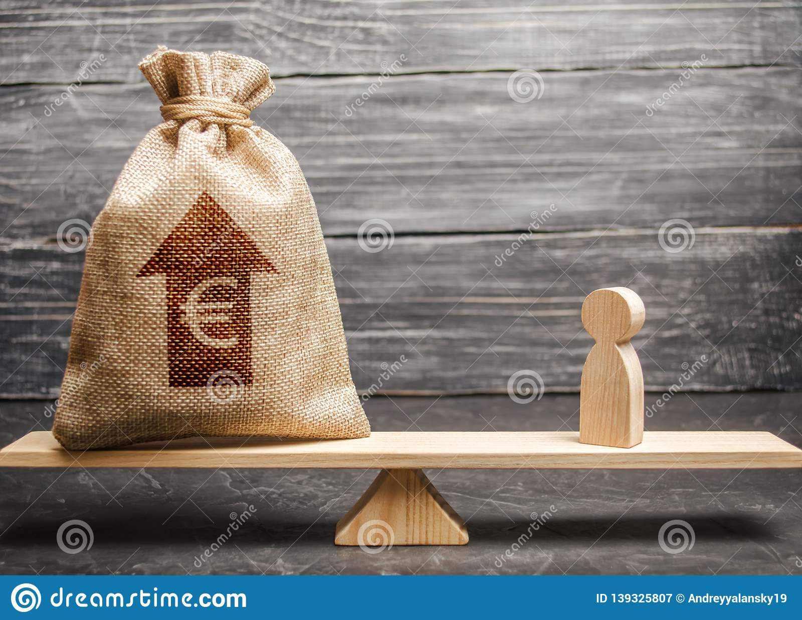 Euro Money Bag With Up Arrow And Man Figurine On Scales  The Average