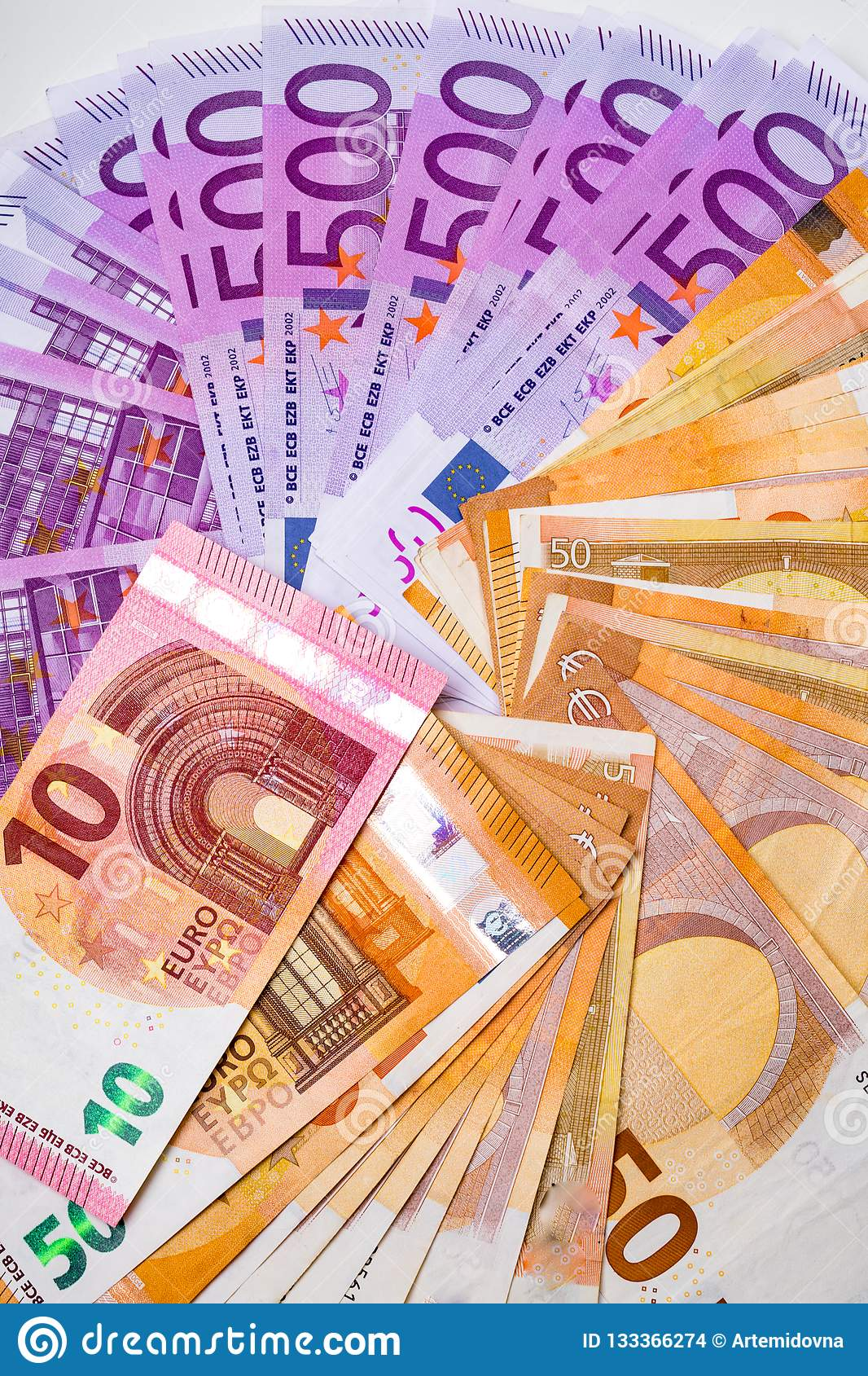 Euro Money Banknotes and cash. 10,50, 500 euro