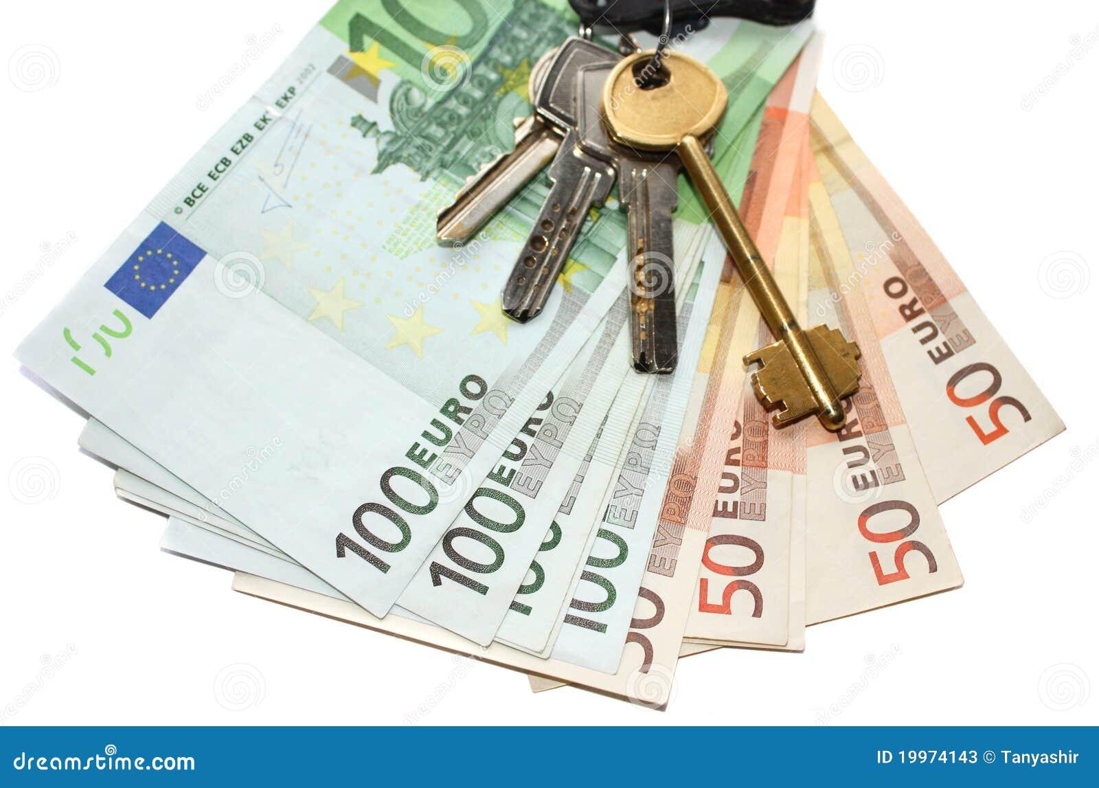 Euro money and keys