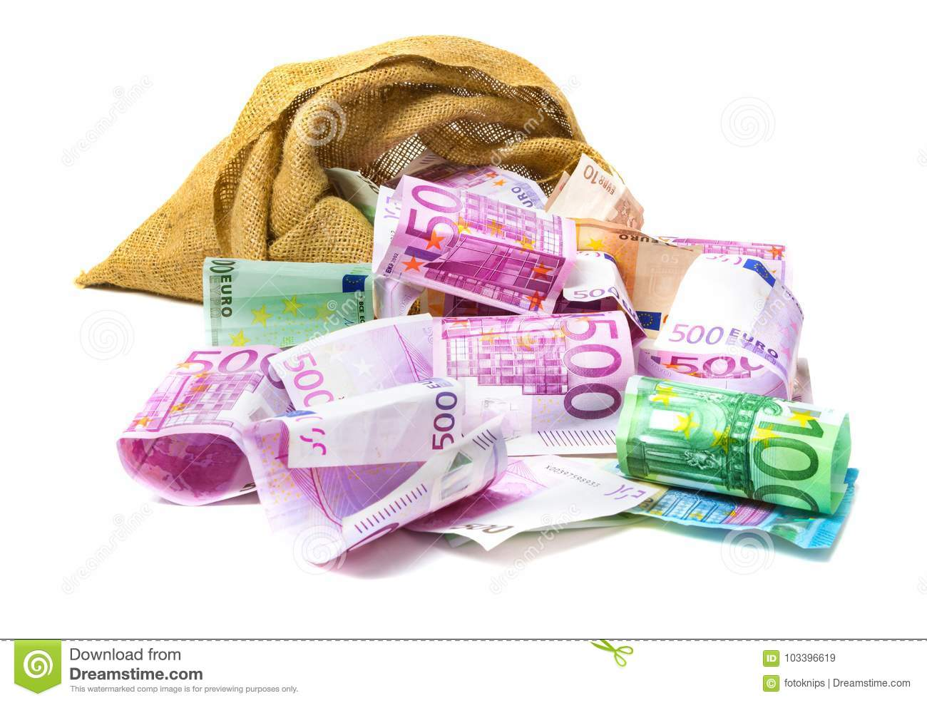 Euro money out of the bag