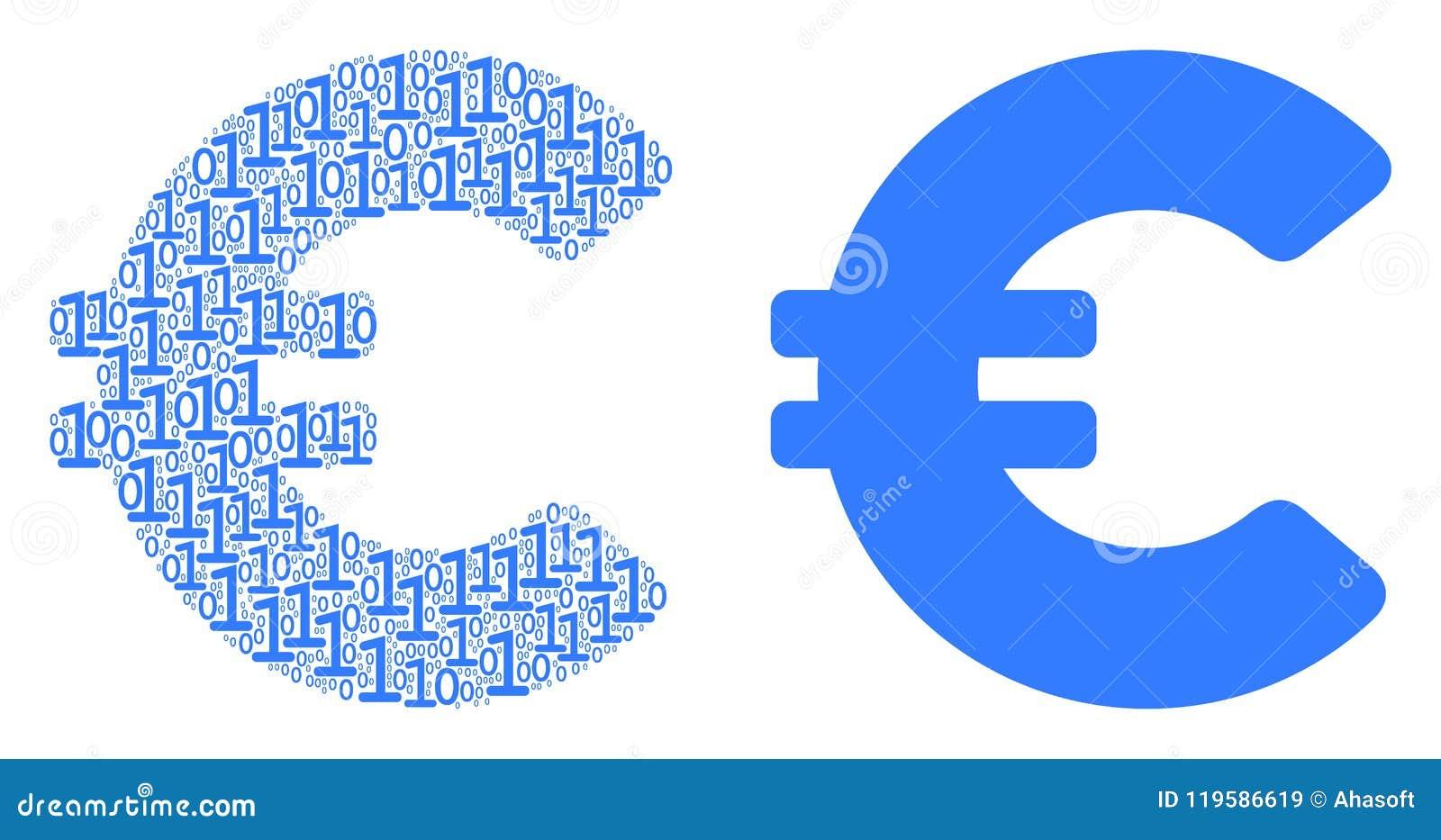 Euro Mosaic Icon Of Zero And One Symbols In Different Sizes Vector Digit Symbols Are Randomized Into Euro Mosaic Design Concept