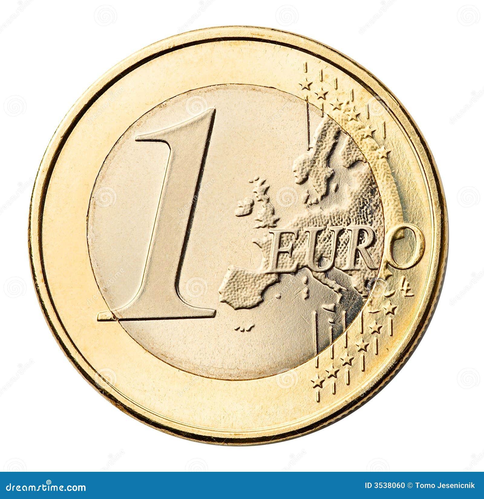 Euro muntstuk dat op wit wordt geïsoleerdr