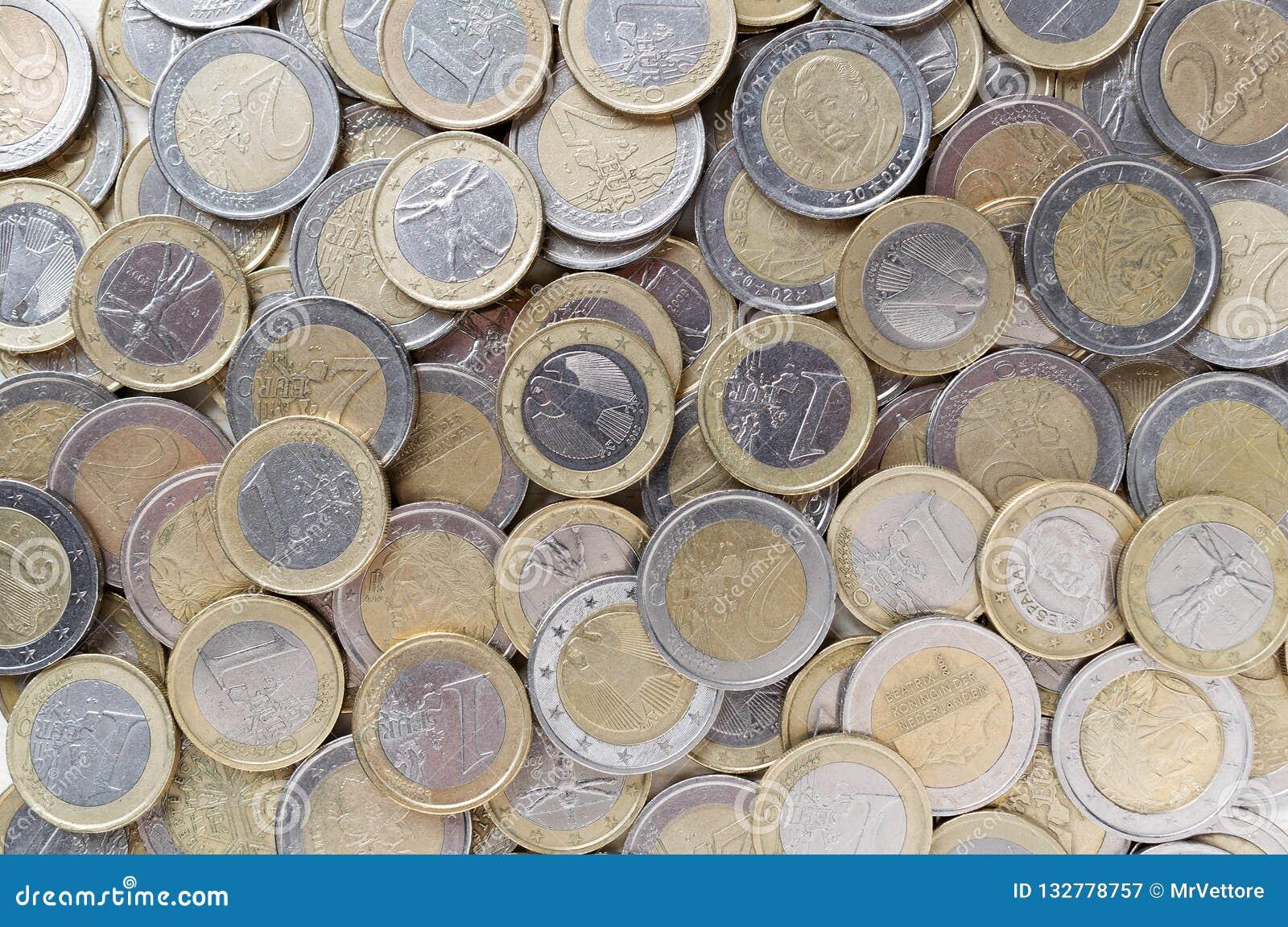 Euro muntstukkenachtergrond Europees geld Flatlay hoogste mening