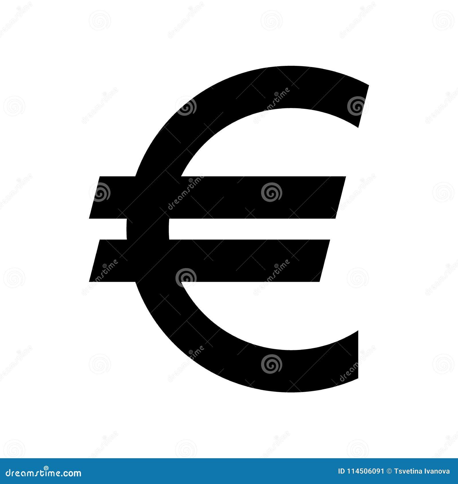 Euro muntsymbool Zwart silhouet euro teken