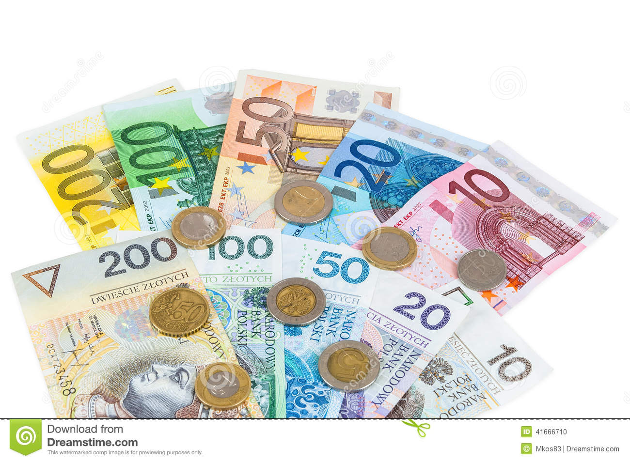 Euro and new polish zloty banknotes with coins
