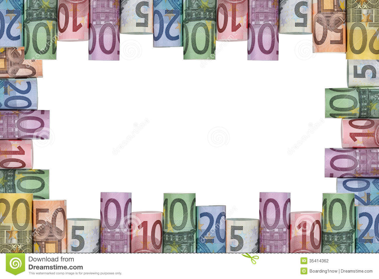 Euro notes frame stock photo  Image of price, currency