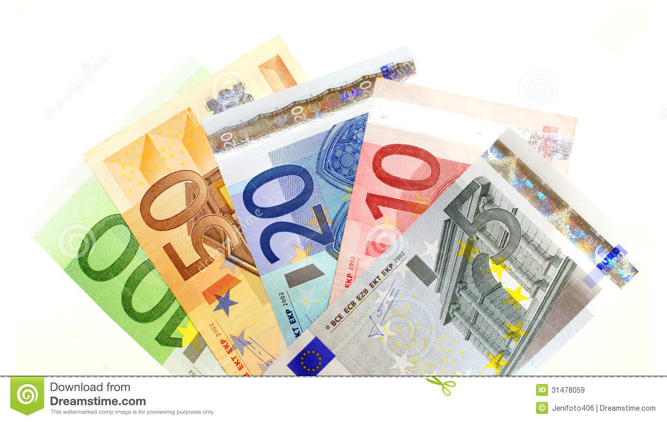 Group of various Euro notes arranged as a fan over white.