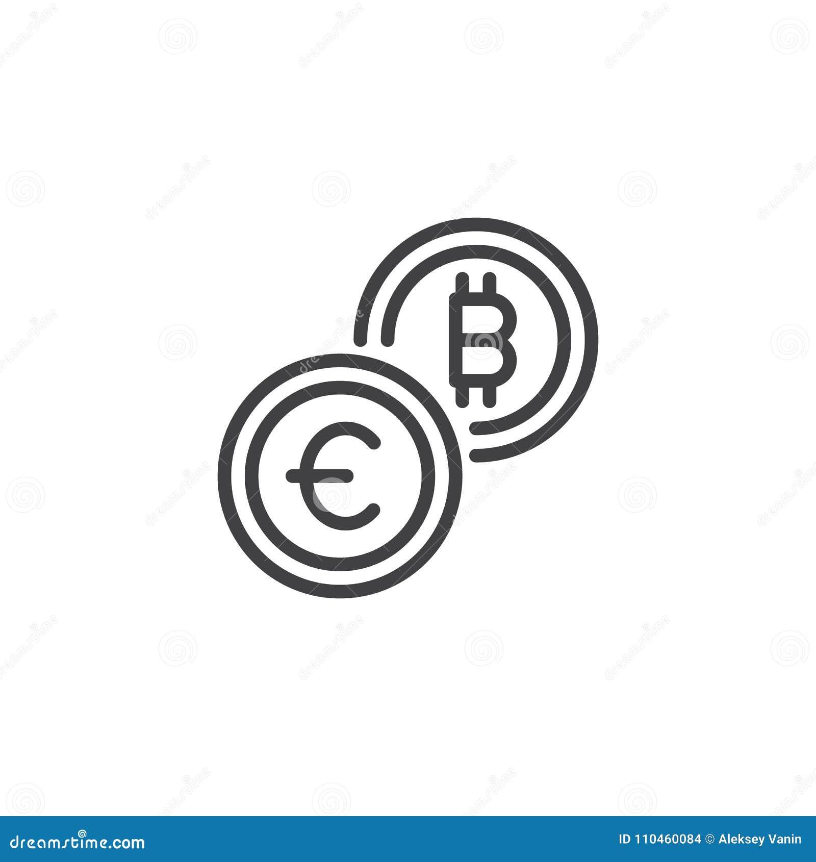 Euro och symbol för översikt för bitcoinvalutautbyte