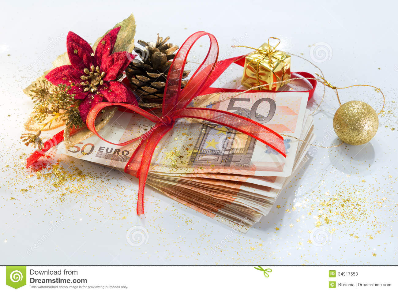 Euro Package For Gift Christmas Stock Image - Image of earning ...