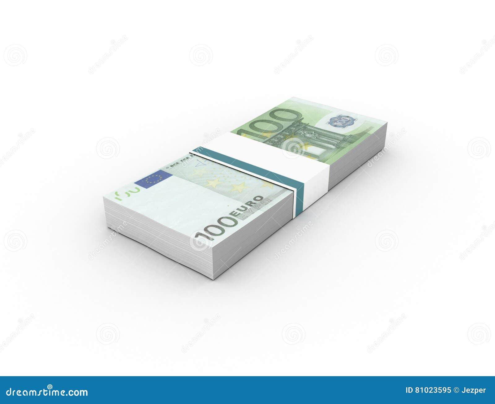 100 euro- pacotes das contas das cédulas