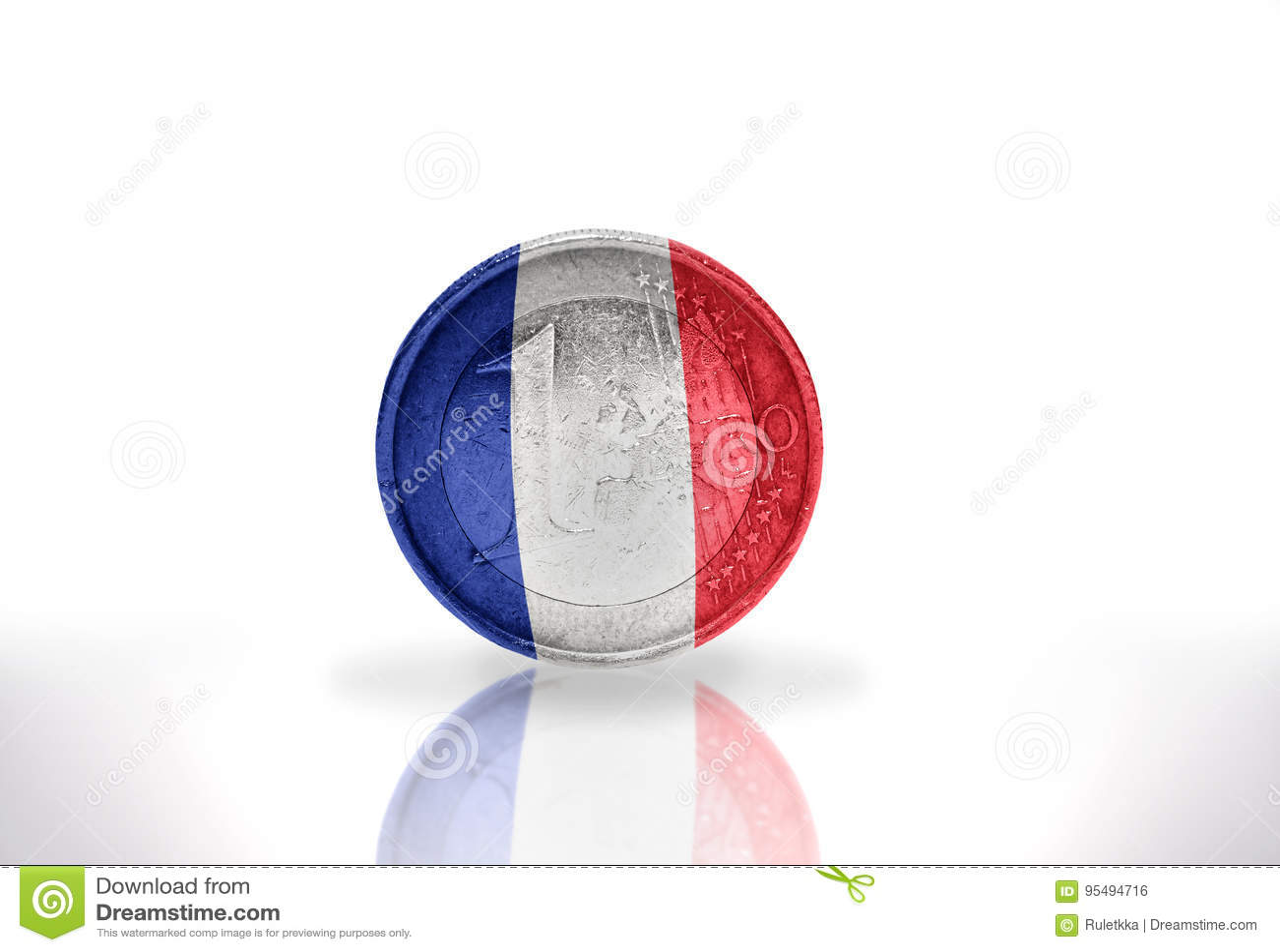 Euro pièce de monnaie avec le drapeau français sur le blanc