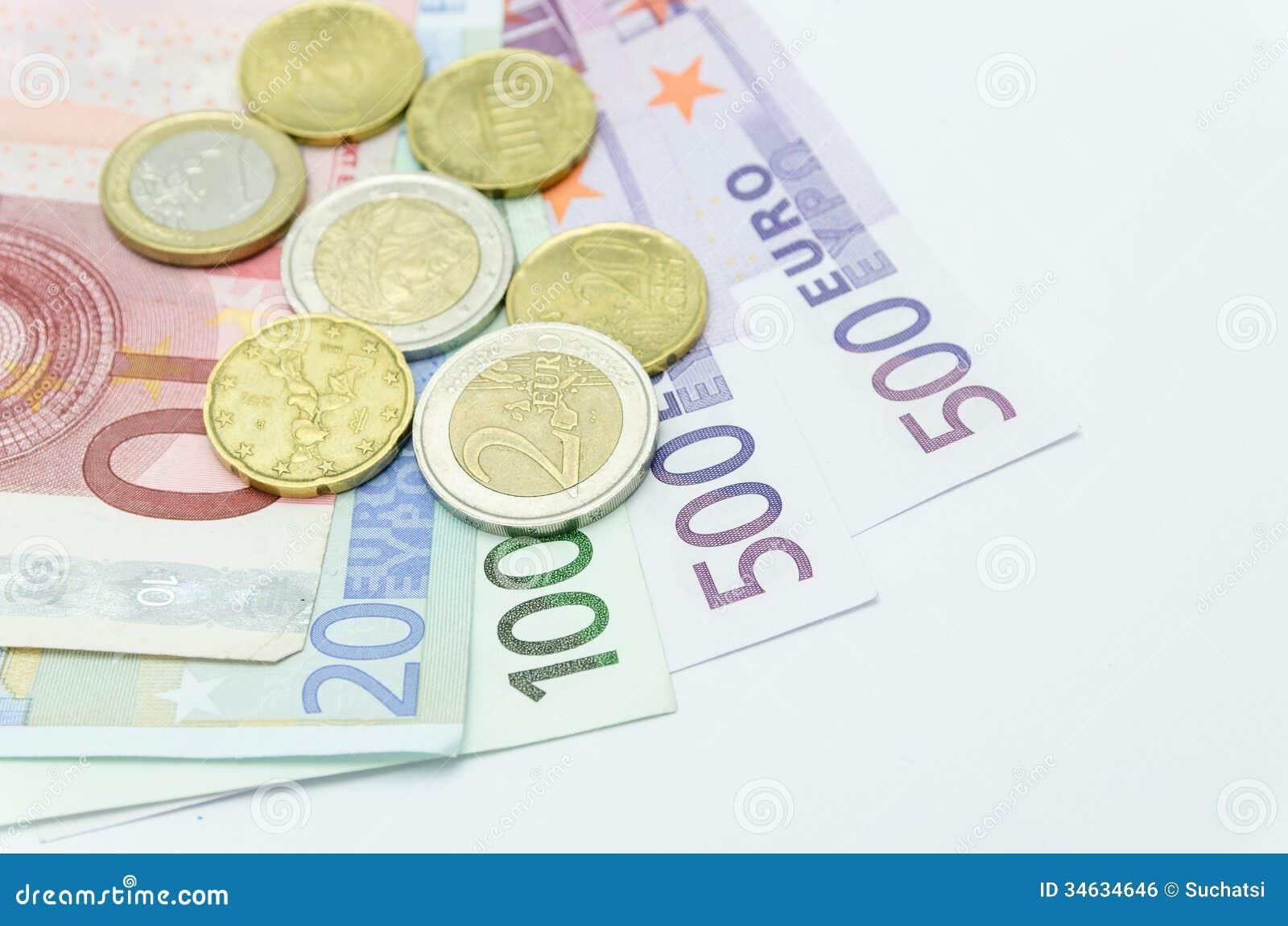 euro pi ces de monnaie et billets de banque d 39 argent image libre de droits image 34634646. Black Bedroom Furniture Sets. Home Design Ideas