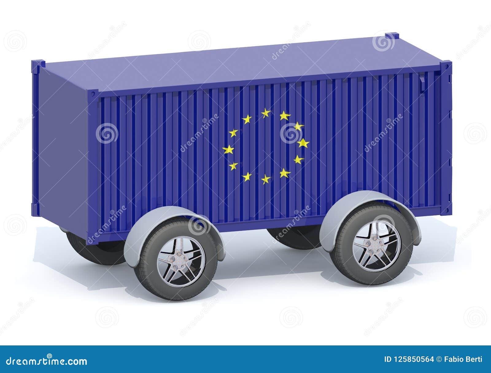 Euro récipient d expédition de drapeau avec des roues