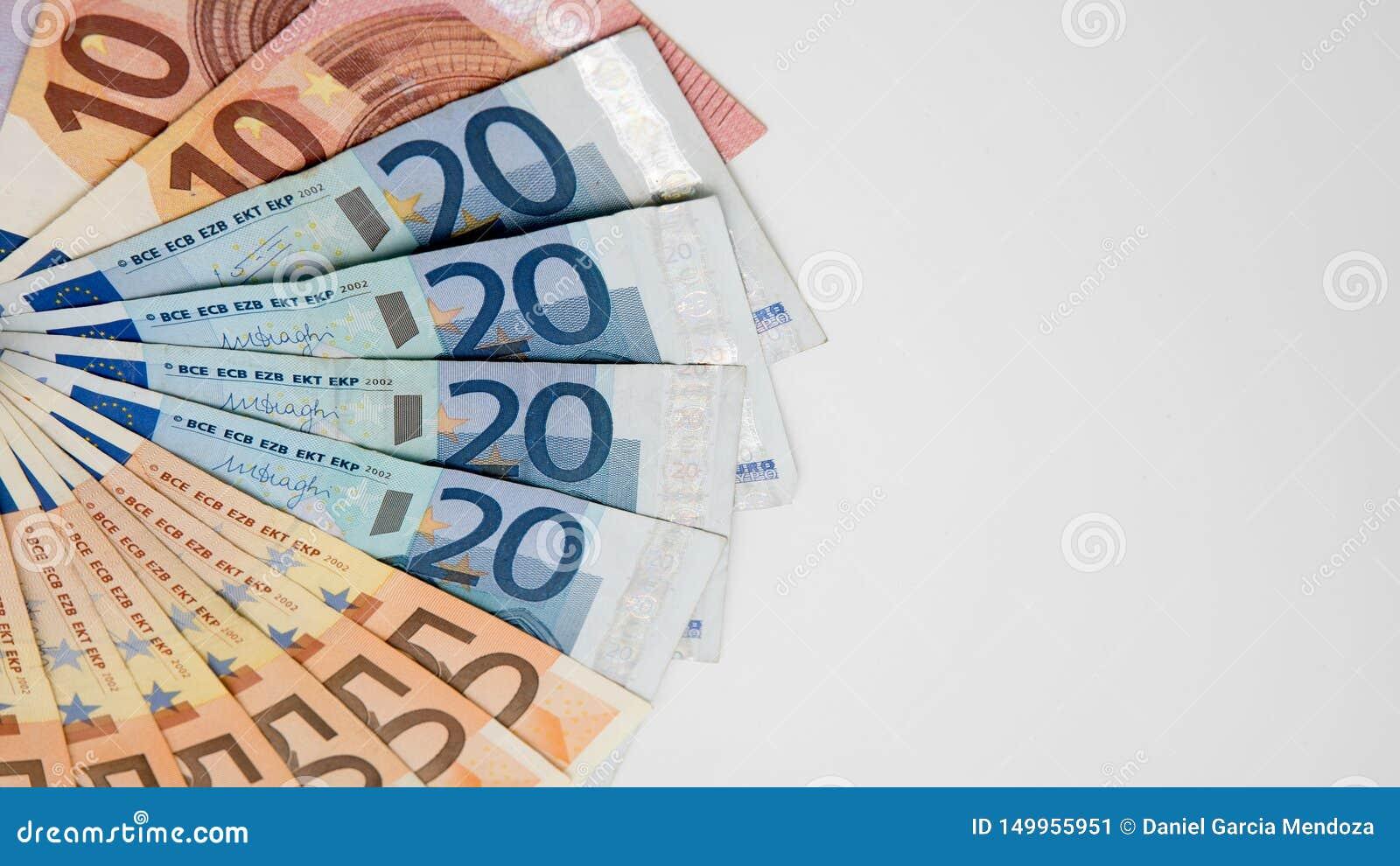 Euro rachunki różne wartości Euro rachunek dwadzieścia i pięćdziesiąt