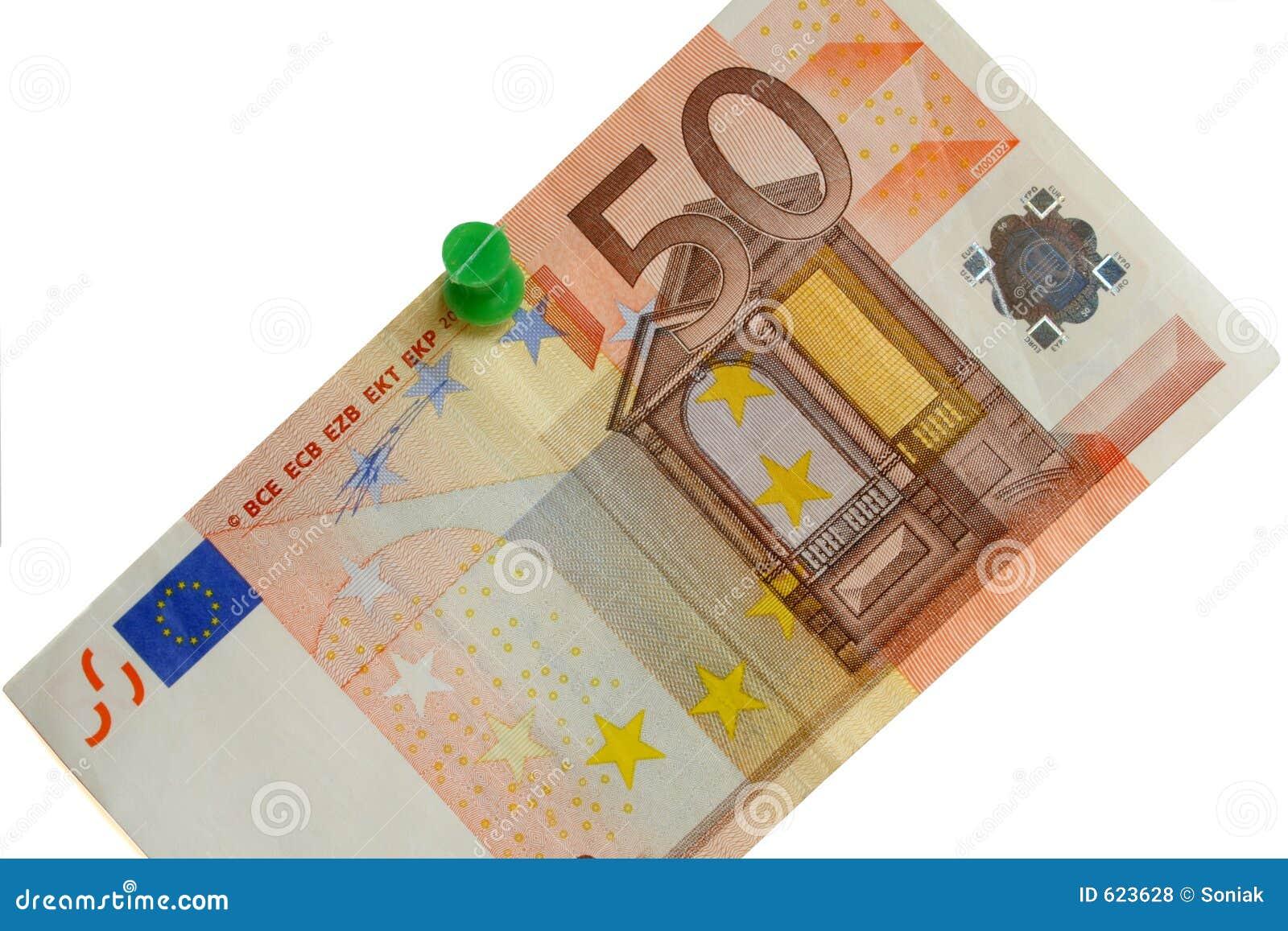 Euro rekening vijftig op een witte raad