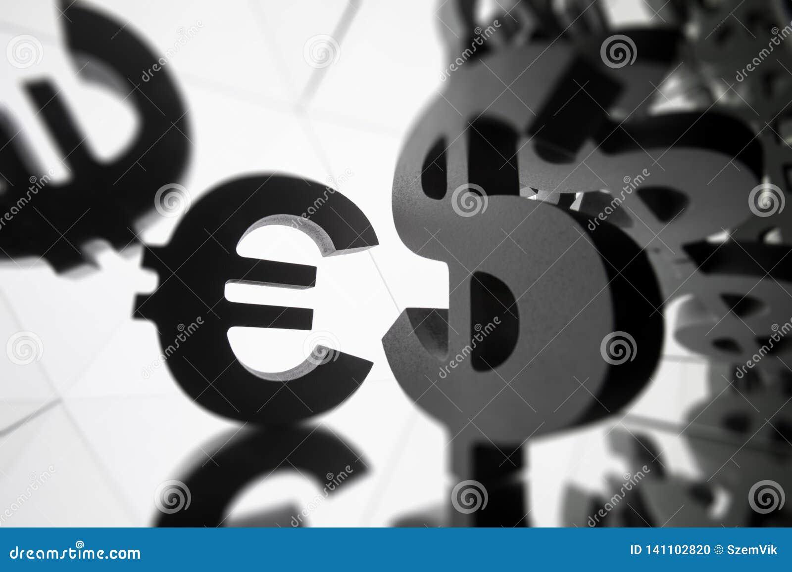 Euro, símbolo de moeda do dólar com muitas imagens espelhando dse