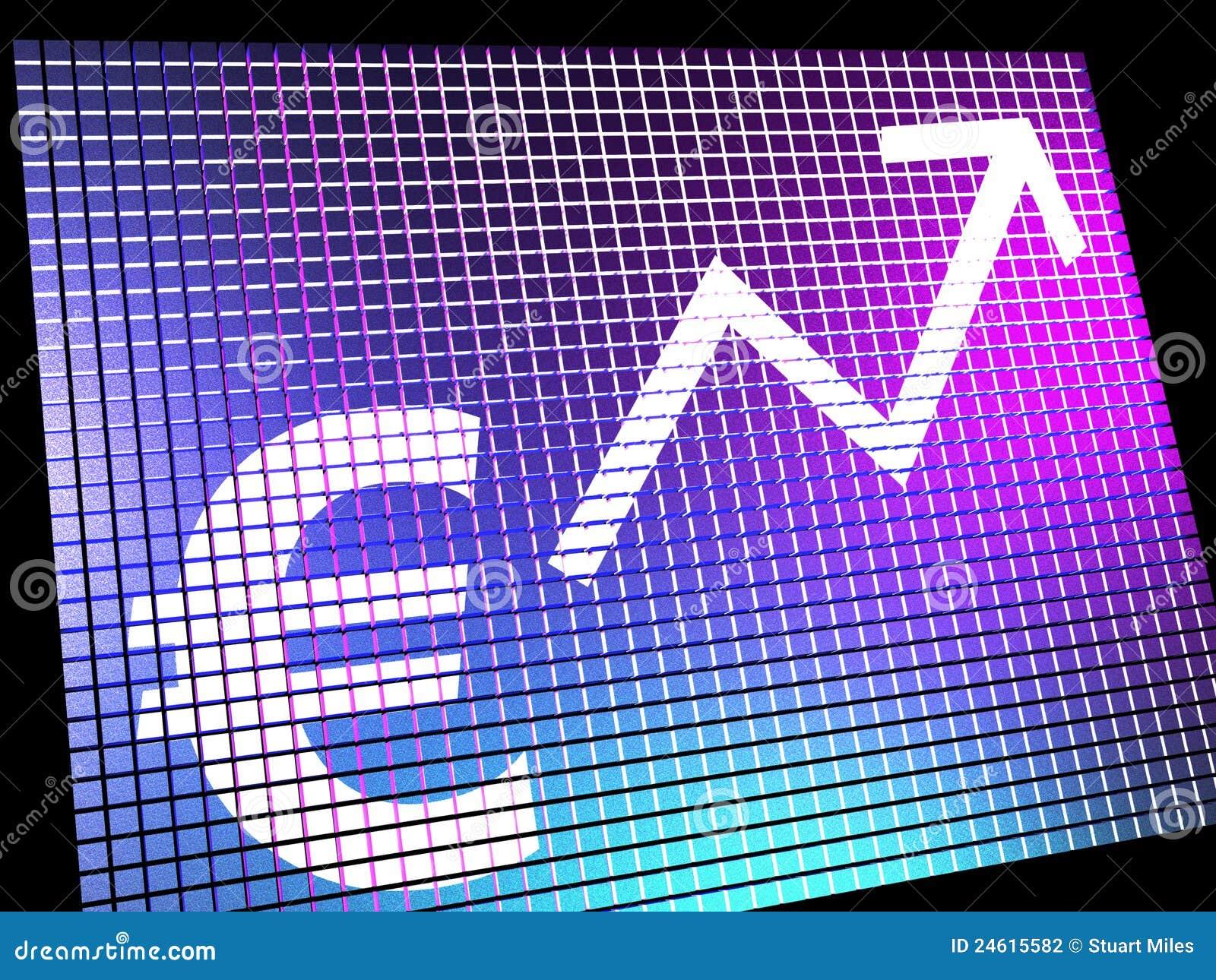 Euro segno e freccia alta come simbolo per i guadagni o il profitto online