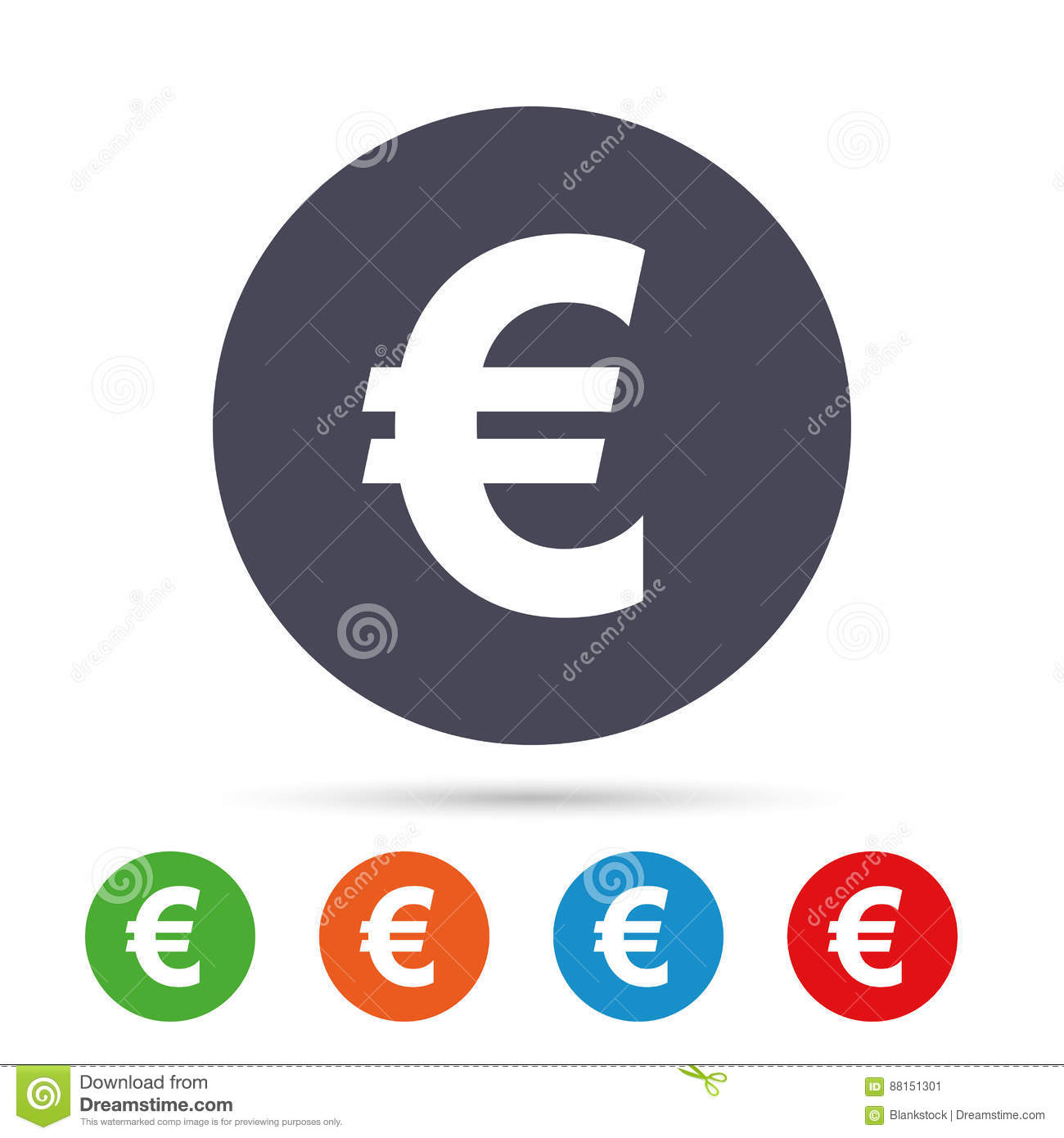 Euro Sign Icon Eur Currency Symbol Stock Vector Illustration Of