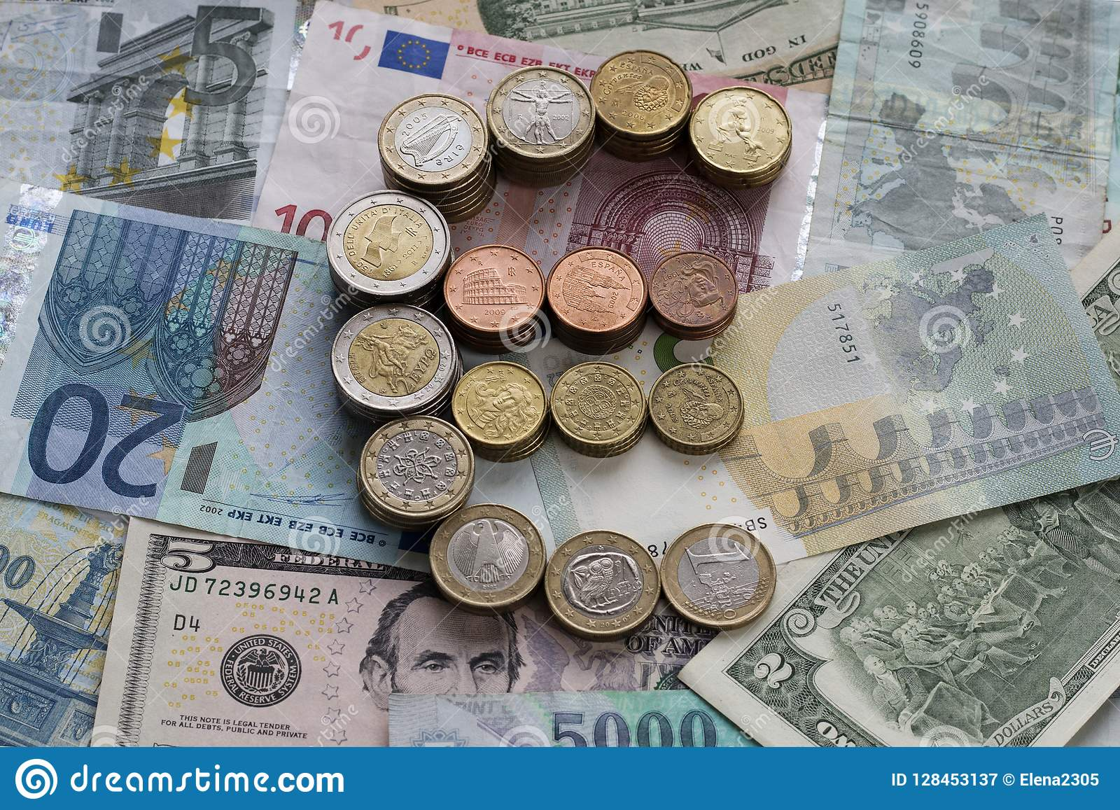 Euro sign made of euro coins