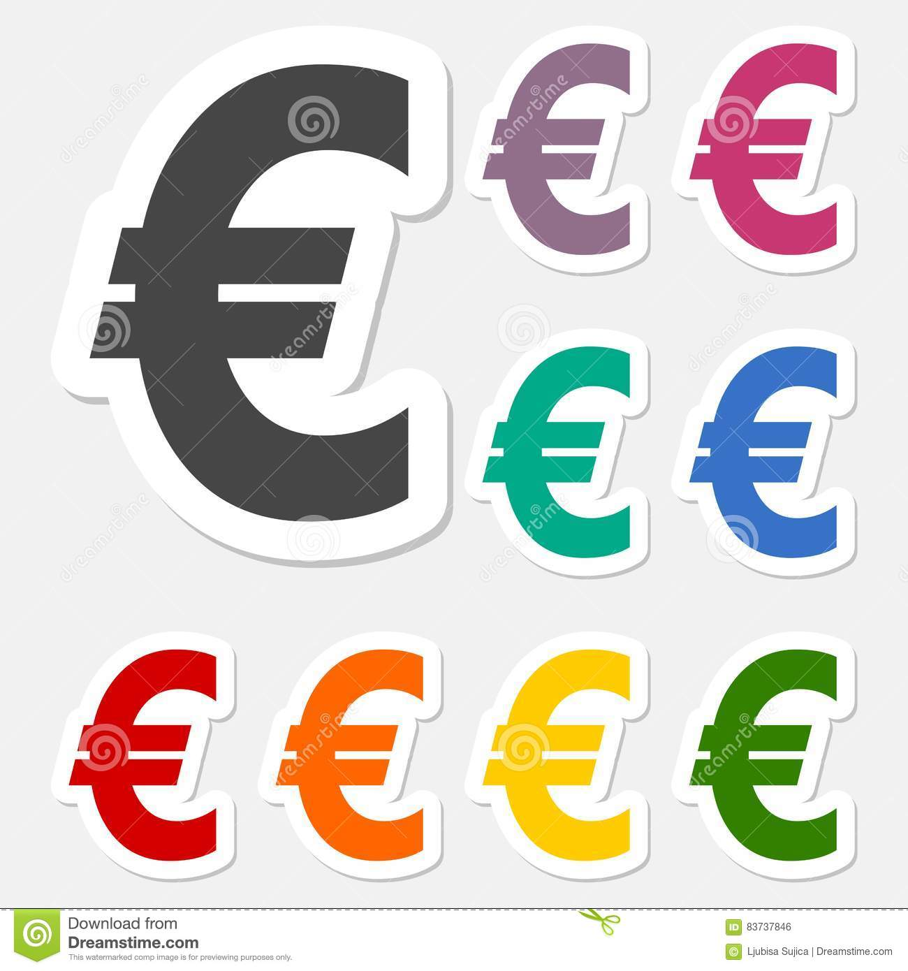 Euro Sign Stickers Set Eur Currency Symbol Money Label Stock