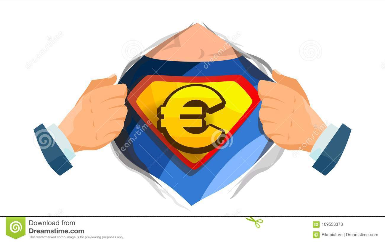 Euro Sign Vector Superhero Open Shirt With Shield Badge Isolated