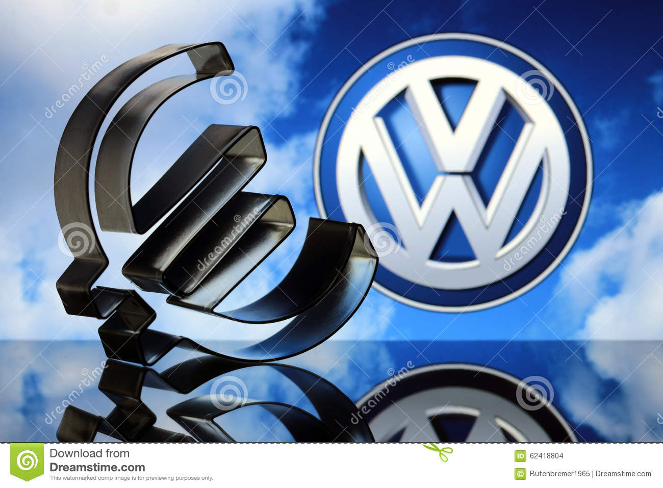 Euro Sign With Vw Emblem Editorial Stock Image Image Of Carbon