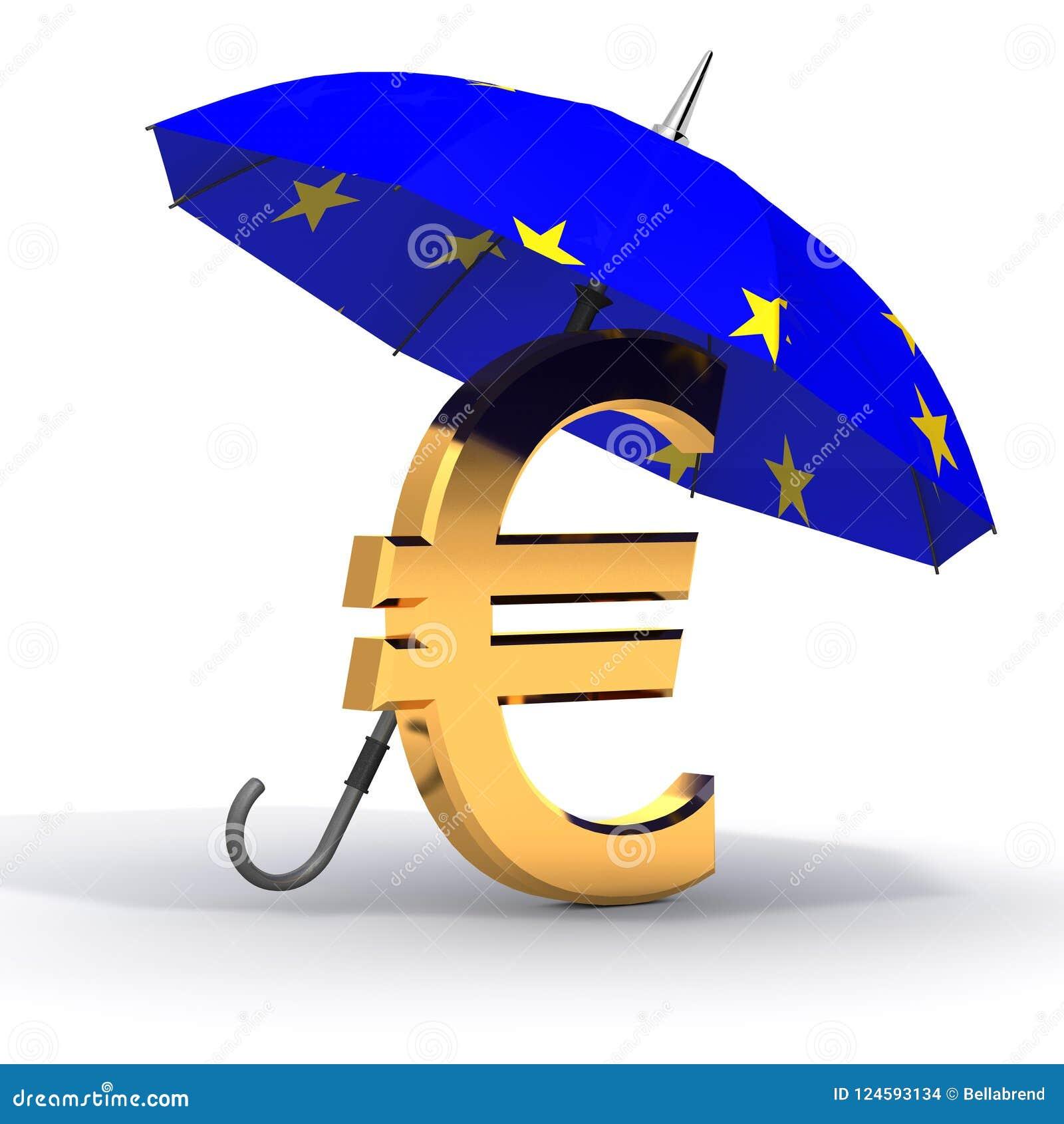 Euro simbolo con l ombrello