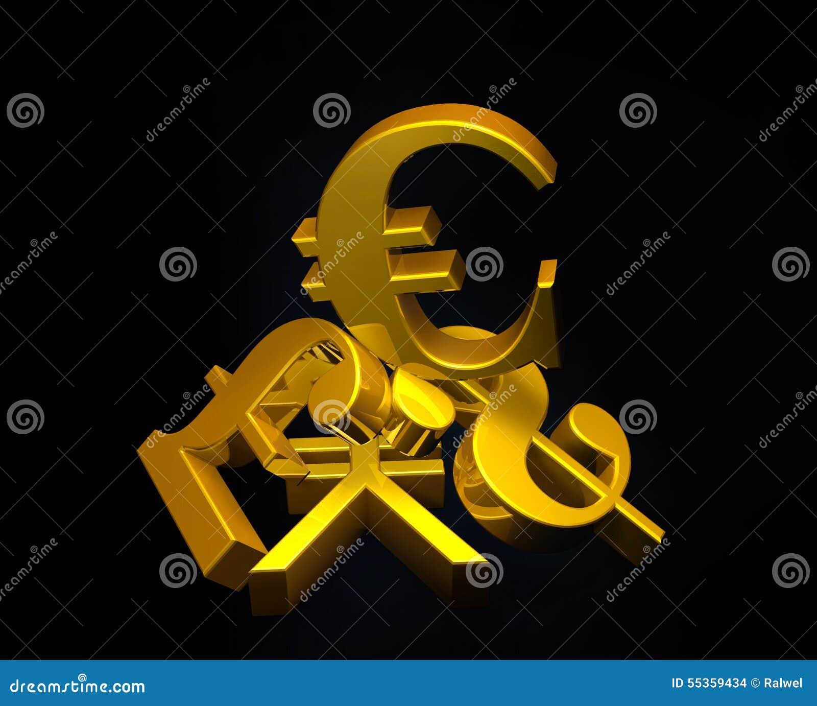 Euro simbolo di valuta dorata che aumenta sopra un mucchio della sterlina, dollaro americano, Yen