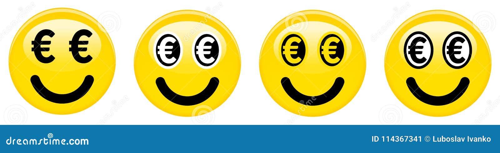 Euro Smiley Emoticon Yellow 3d Emoji With Black And White Euro