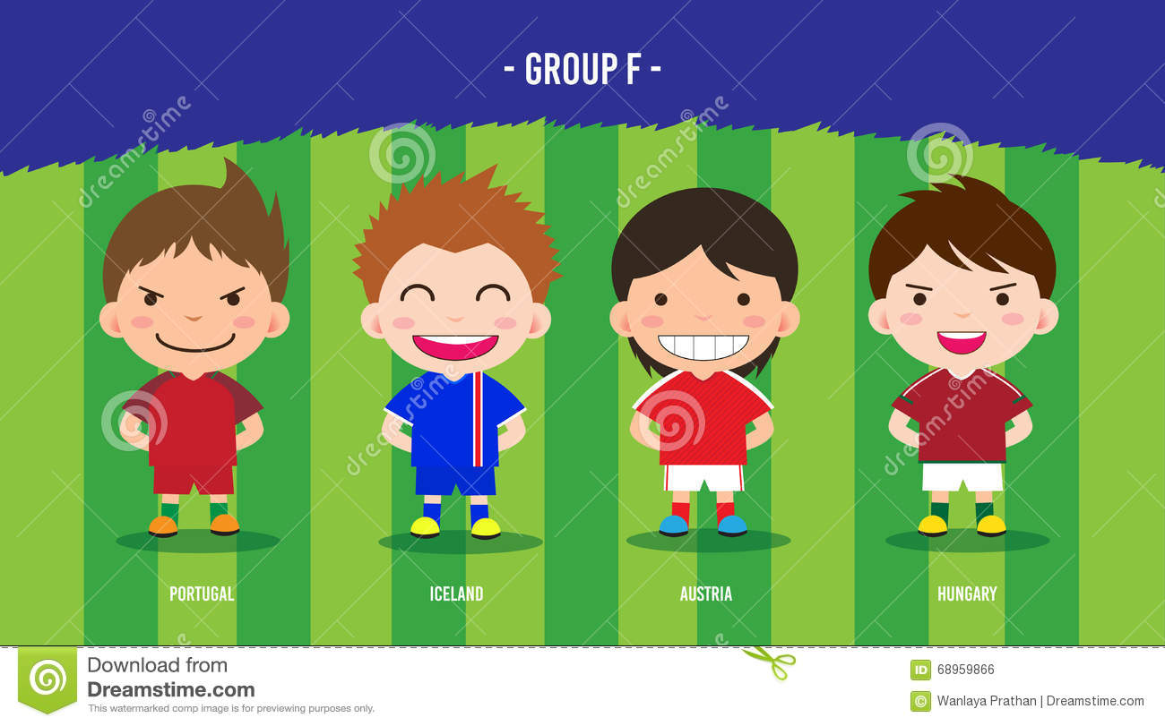 Character Design Group : Euro soccer group f stock vector image of european