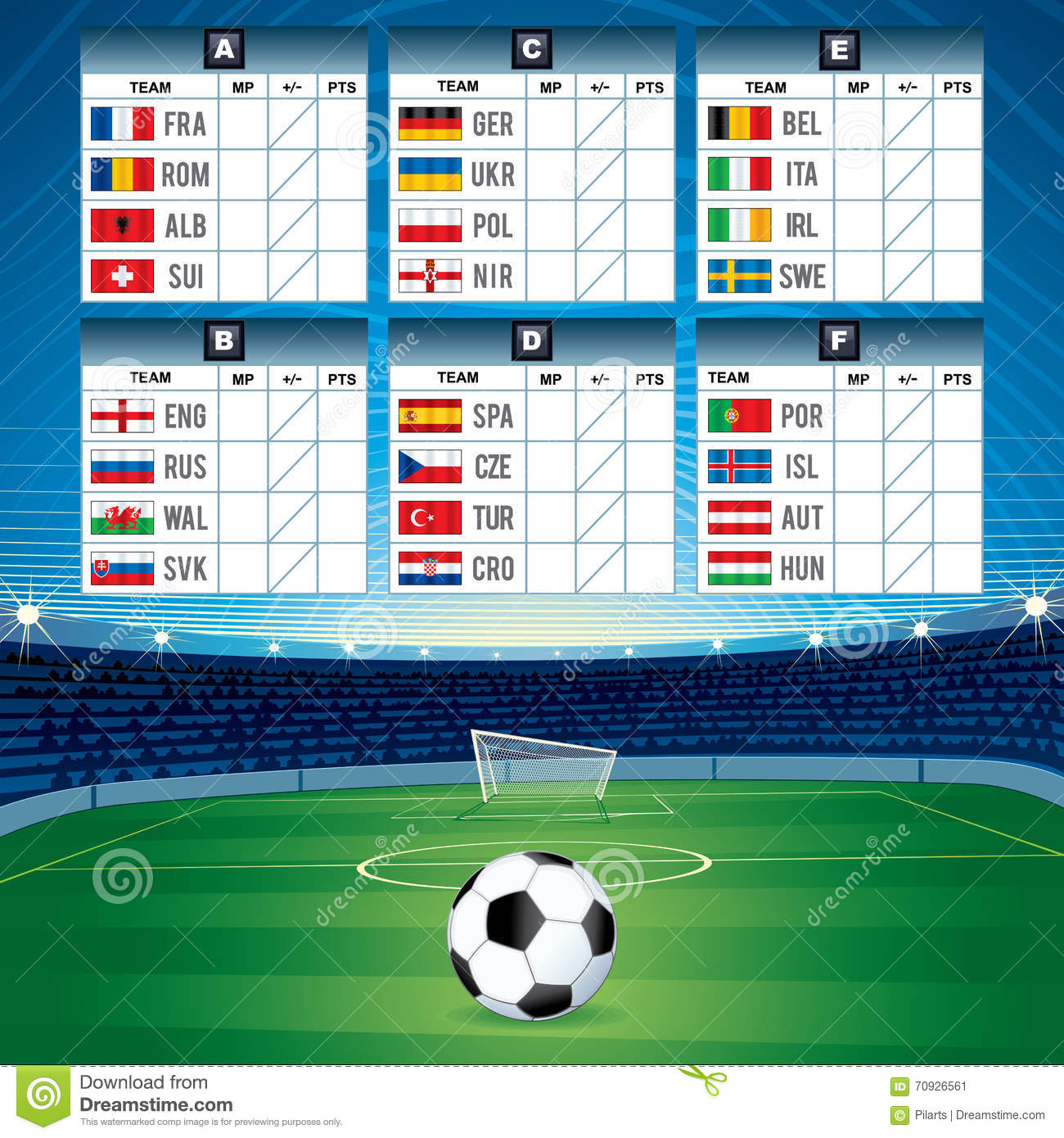 Euro soccer table with flags vector design stock - European football tables latest ...