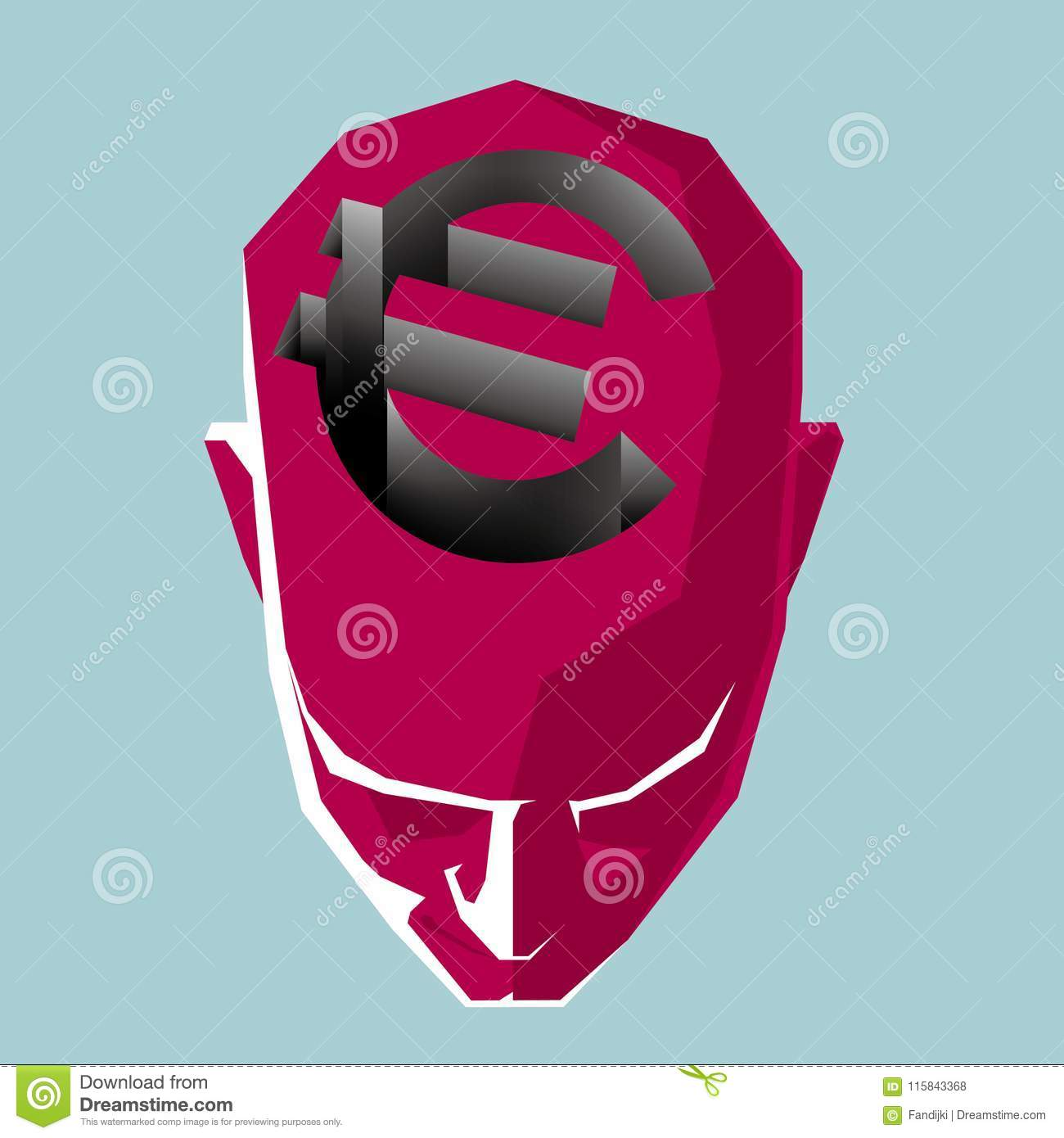 The Euro Symbol Above The Head Form A Trap Stock Vector