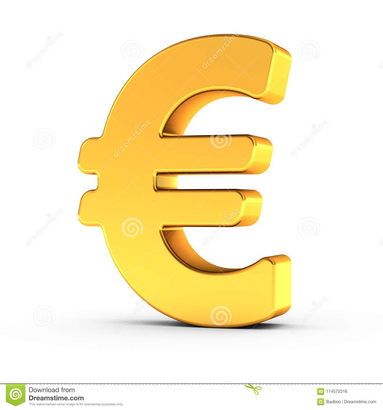 The Euro Symbol As A Polished Golden Object With Clipping Path Stock