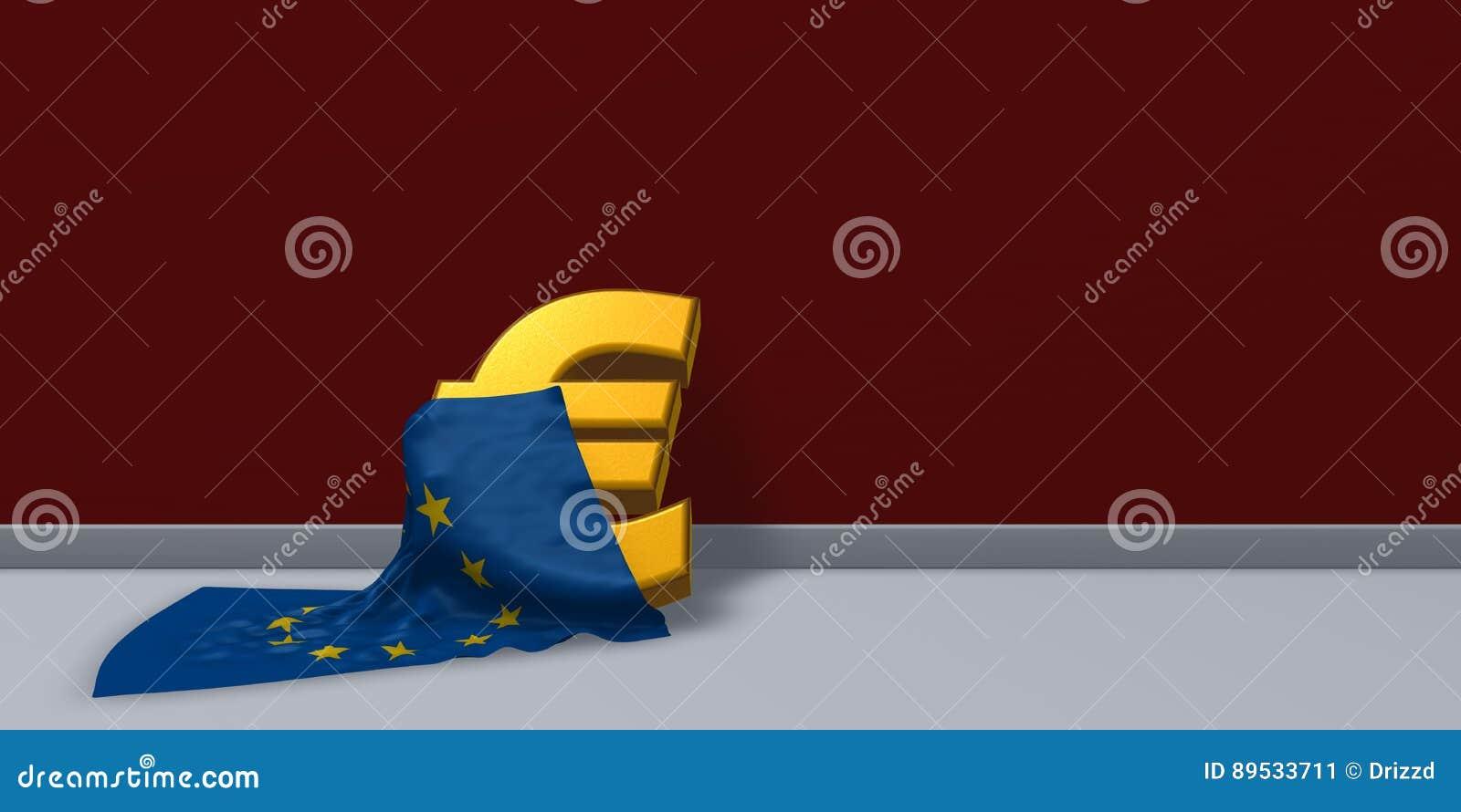Euro Symbol And European Union Flag Stock Illustration