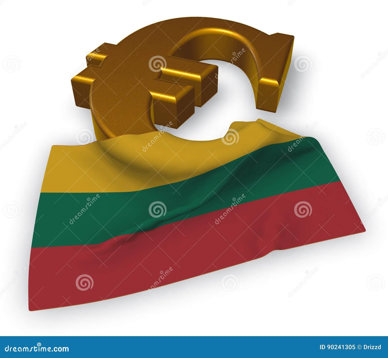 Euro Symbol And Flag Of Lithuania Stock Illustration Illustration
