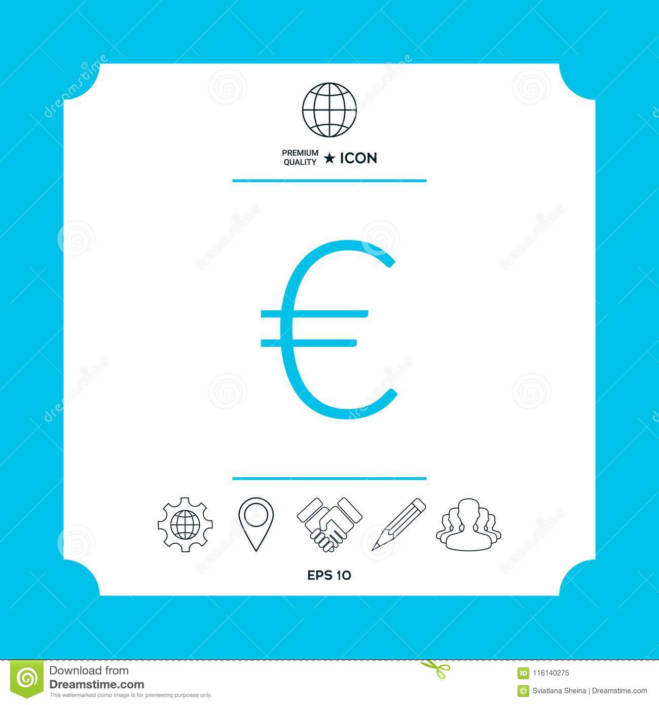 Euro Symbol Icon Stock Vector Illustration Of Icon 116140275